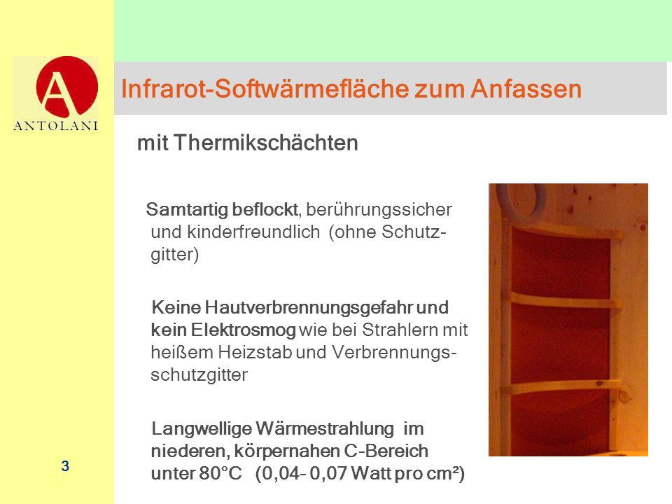 3 Infrarot-Softwärmefläche zum Anfassen mit Thermikschächten Samtartig beflockt, berührungssicher und kinderfreundlich (ohne Schutz- gitter) Keine Hau