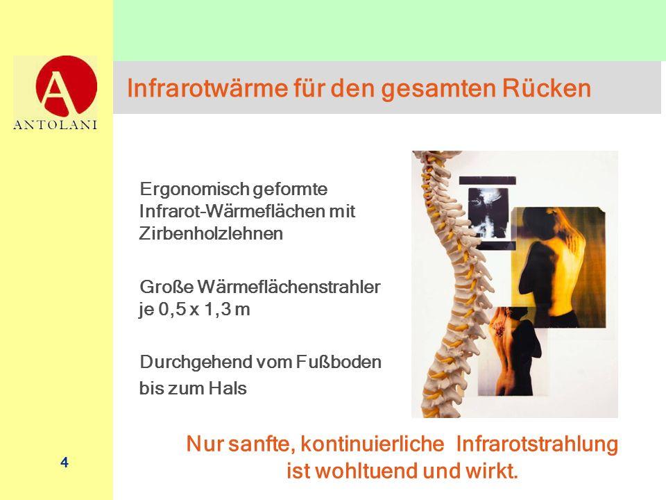 4 Infrarotwärme für den gesamten Rücken Ergonomisch geformte Infrarot-Wärmeflächen mit Zirbenholzlehnen Große Wärmeflächenstrahler je 0,5 x 1,3 m Durc