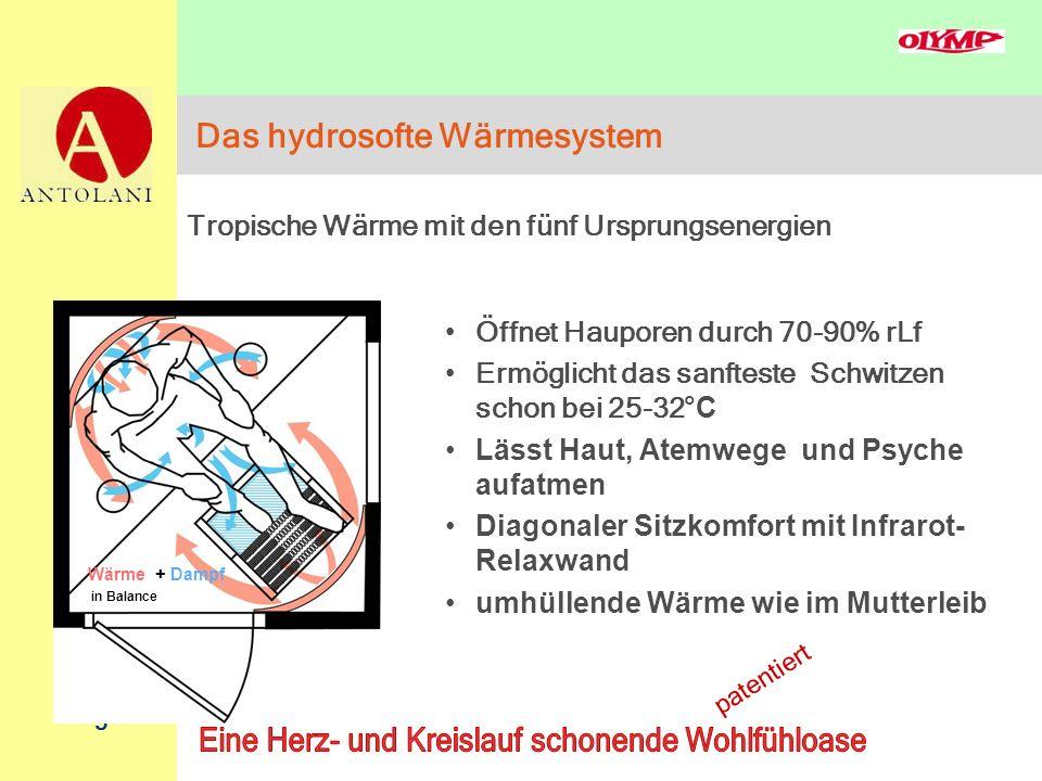 5 Das hydrosofte Wärmesystem Öffnet Hauporen durch 70-90% rLf Ermöglicht das sanfteste Schwitzen schon bei 25-32 °C Lässt Haut, Atemwege und Psyche au