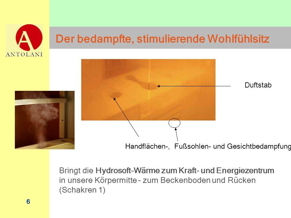 6 Handflächen-, Fußsohlen- und Gesichtbedampfung Duftstab Der bedampfte, stimulierende Wohlfühlsitz Bringt die Hydrosoft-Wärme zum Kraft- und Energiez
