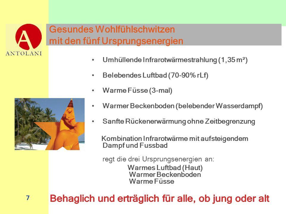7 Gesundes Wohlfühlschwitzen mit den fünf Ursprungsenergien Umhüllende Infrarotwärmestrahlung (1,35 m²) Belebendes Luftbad (70-90% rLf) Warme Füsse (3