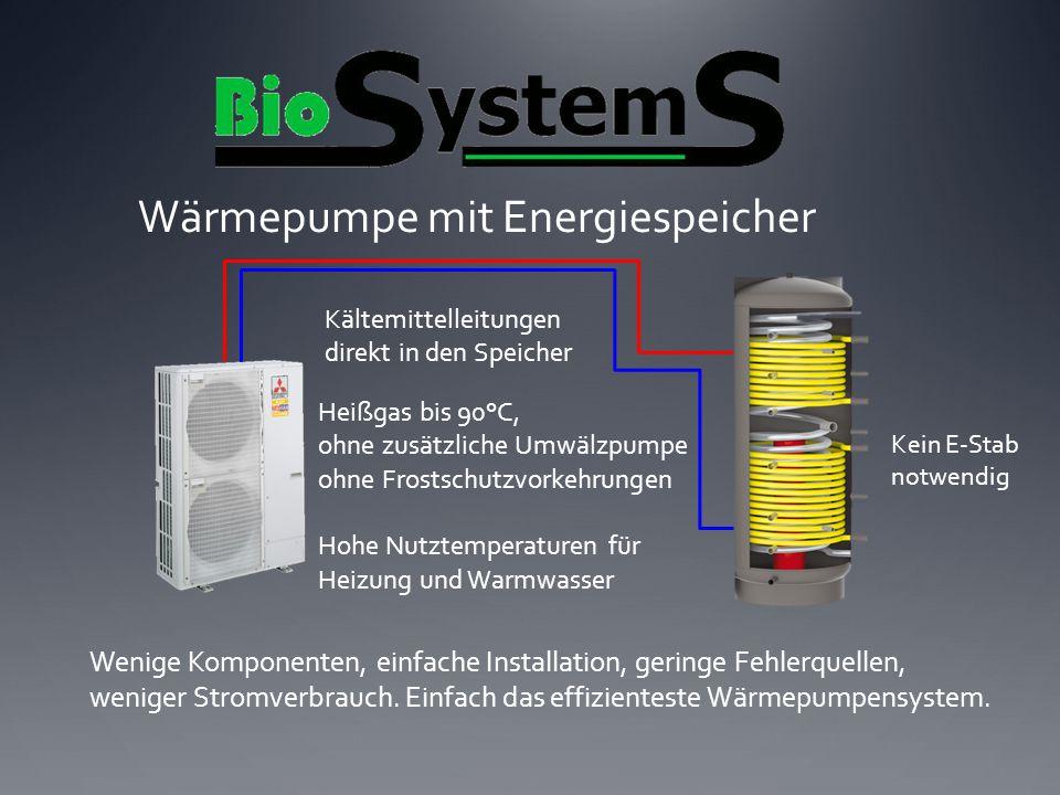 Wärmepumpe mit Energiespeicher Kältemittelleitungen direkt in den Speicher Wenige Komponenten, einfache Installation, geringe Fehlerquellen, weniger S