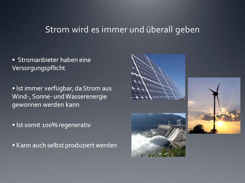 Strom wird es immer und überall geben Stromanbieter haben eine Versorgungspflicht Ist immer verfügbar, da Strom aus Wind-, Sonne- und Wasserenergie ge