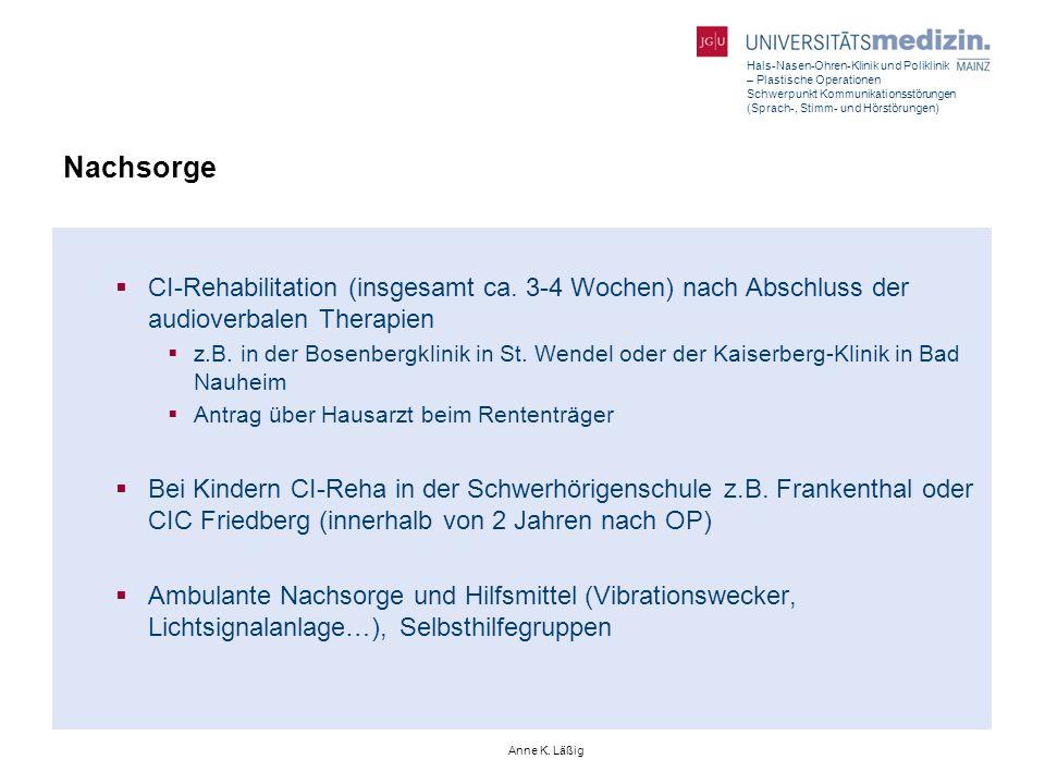 Hals-Nasen-Ohren-Klinik und Poliklinik – Plastische Operationen Schwerpunkt Kommunikationsstörungen (Sprach-, Stimm- und Hörstörungen) Anne K. Läßig N