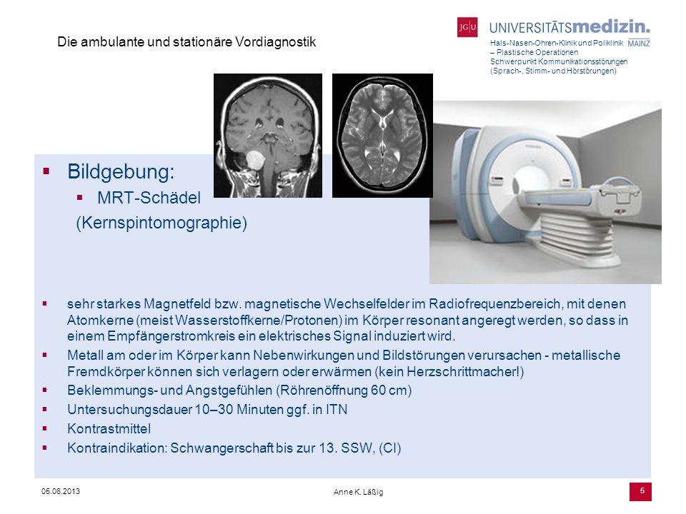 Hals-Nasen-Ohren-Klinik und Poliklinik – Plastische Operationen Schwerpunkt Kommunikationsstörungen (Sprach-, Stimm- und Hörstörungen) Anne K. Läßig 5
