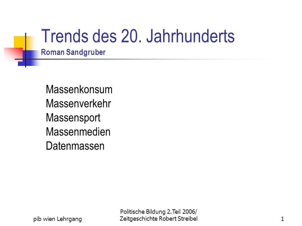 pib wien Lehrgang Politische Bildung 2.Teil 2006/ Zeitgeschichte Robert Streibel1 Trends des 20. Jahrhunderts Roman Sandgruber Massenkonsum Massenverk