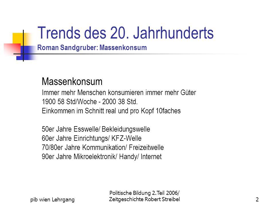 pib wien Lehrgang Politische Bildung 2.Teil 2006/ Zeitgeschichte Robert Streibel2 Trends des 20. Jahrhunderts Roman Sandgruber: Massenkonsum Massenkon