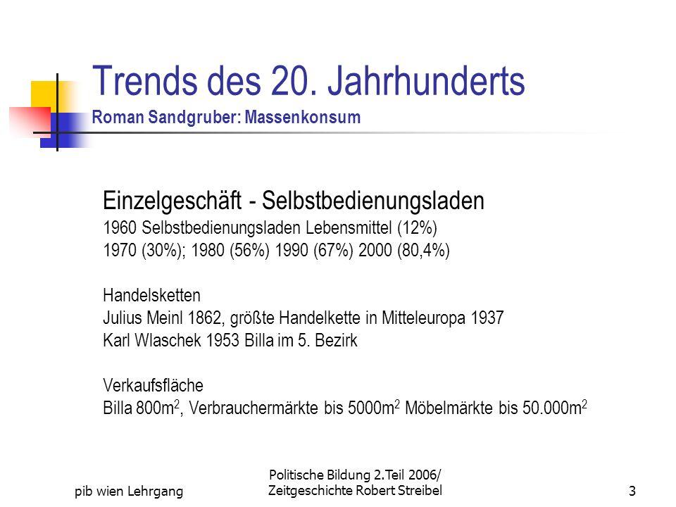 pib wien Lehrgang Politische Bildung 2.Teil 2006/ Zeitgeschichte Robert Streibel3 Trends des 20. Jahrhunderts Roman Sandgruber: Massenkonsum Einzelges