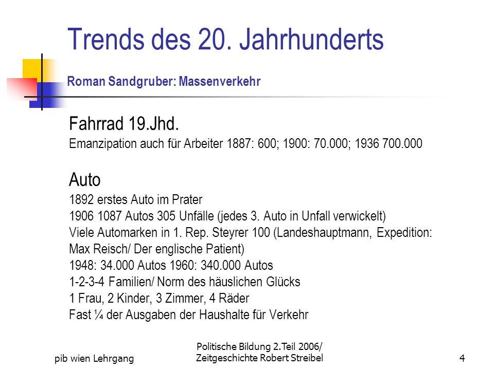pib wien Lehrgang Politische Bildung 2.Teil 2006/ Zeitgeschichte Robert Streibel4 Trends des 20. Jahrhunderts Roman Sandgruber: Massenverkehr Fahrrad