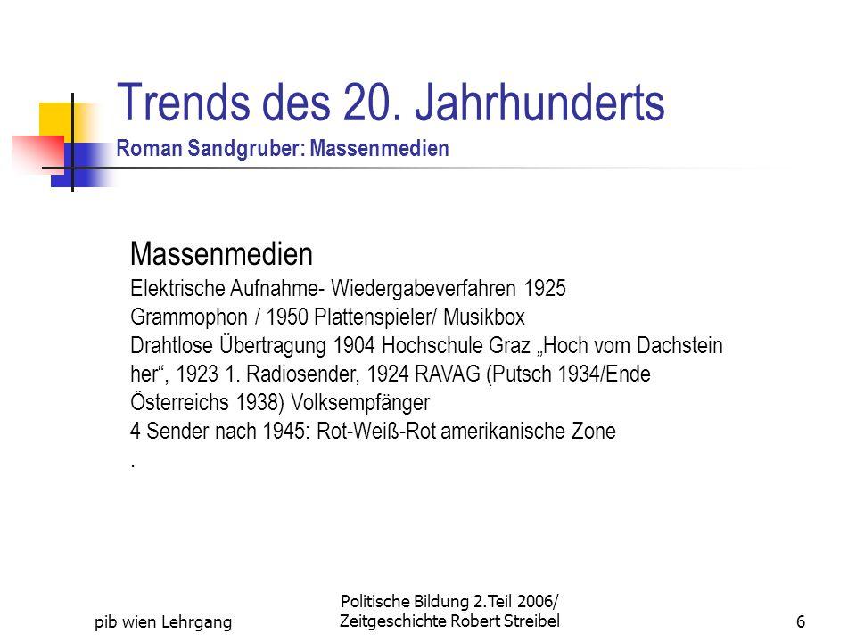 pib wien Lehrgang Politische Bildung 2.Teil 2006/ Zeitgeschichte Robert Streibel6 Trends des 20. Jahrhunderts Roman Sandgruber: Massenmedien Massenmed