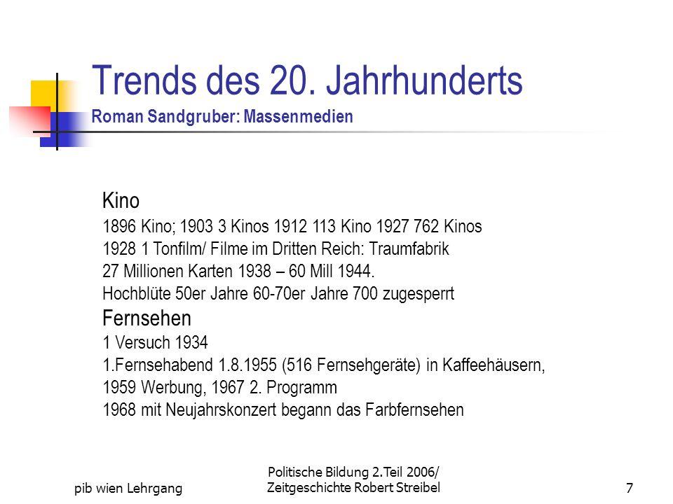 pib wien Lehrgang Politische Bildung 2.Teil 2006/ Zeitgeschichte Robert Streibel7 Trends des 20. Jahrhunderts Roman Sandgruber: Massenmedien Kino 1896