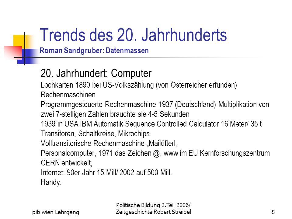 pib wien Lehrgang Politische Bildung 2.Teil 2006/ Zeitgeschichte Robert Streibel8 Trends des 20. Jahrhunderts Roman Sandgruber: Datenmassen 20. Jahrhu