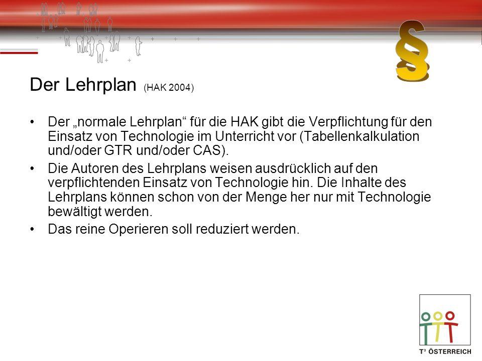 Der Lehrplan (HAK 2004) Der normale Lehrplan für die HAK gibt die Verpflichtung für den Einsatz von Technologie im Unterricht vor (Tabellenkalkulation und/oder GTR und/oder CAS).