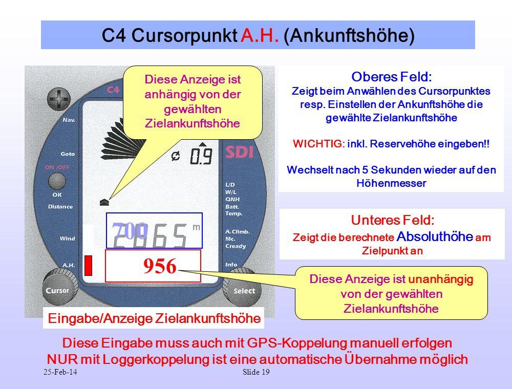 25-Feb-14Slide 19 C4 Cursorpunkt A.H. (Ankunftshöhe) 956 700 Oberes Feld: Zeigt beim Anwählen des Cursorpunktes resp. Einstellen der Ankunftshöhe die