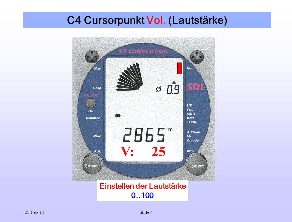 25-Feb-14Slide 4 C4 Cursorpunkt Vol. (Lautstärke) V: 25 Einstellen der Lautstärke 0..100