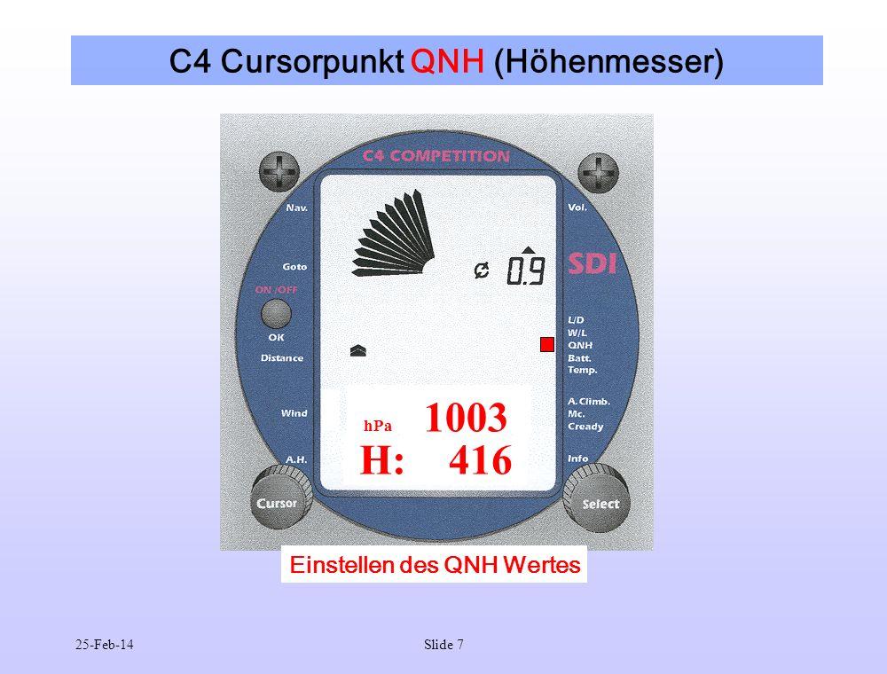 25-Feb-14Slide 7 C4 Cursorpunkt QNH (Höhenmesser) Einstellen des QNH Wertes H: 416 hPa 1003