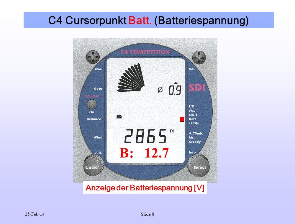25-Feb-14Slide 9 C4 Cursorpunkt Temp. (Temperatur) T: 26 Anzeige der Temperatur [°C]