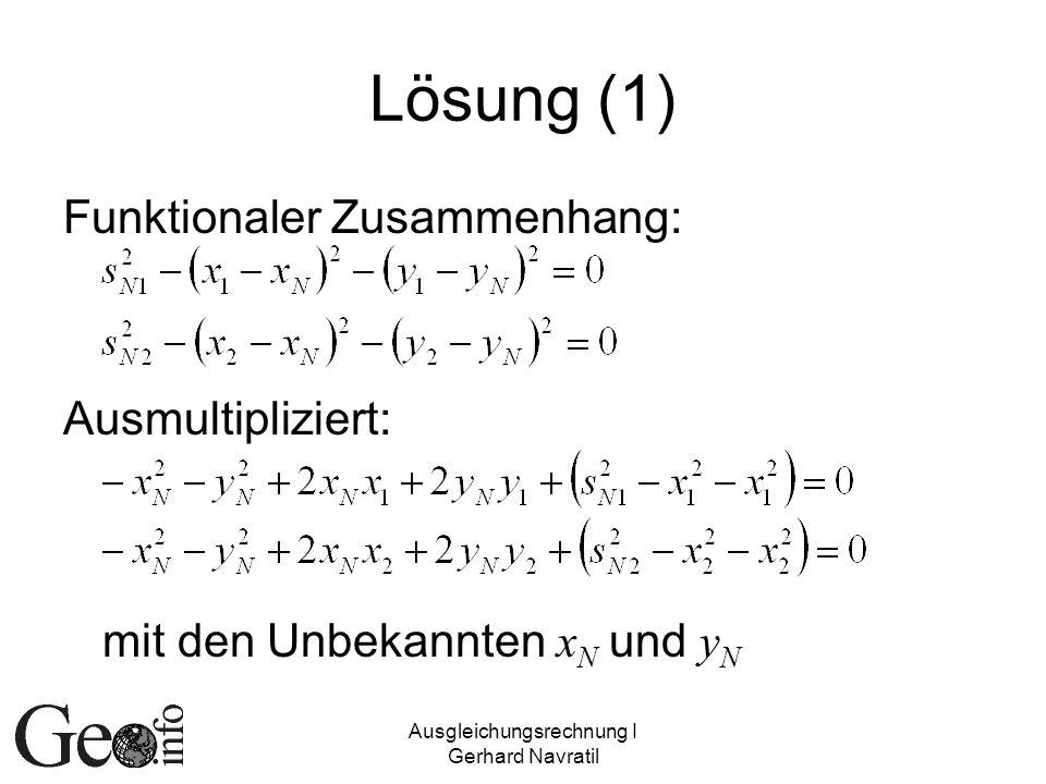 Ausgleichungsrechnung I Gerhard Navratil Lösung (1) Funktionaler Zusammenhang: Ausmultipliziert: mit den Unbekannten x N und y N