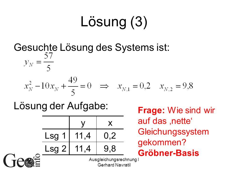 Ausgleichungsrechnung I Gerhard Navratil Lösung (3) Gesuchte Lösung des Systems ist: Lösung der Aufgabe: yx Lsg 111,40,2 Lsg 211,49,8 Frage: Wie sind
