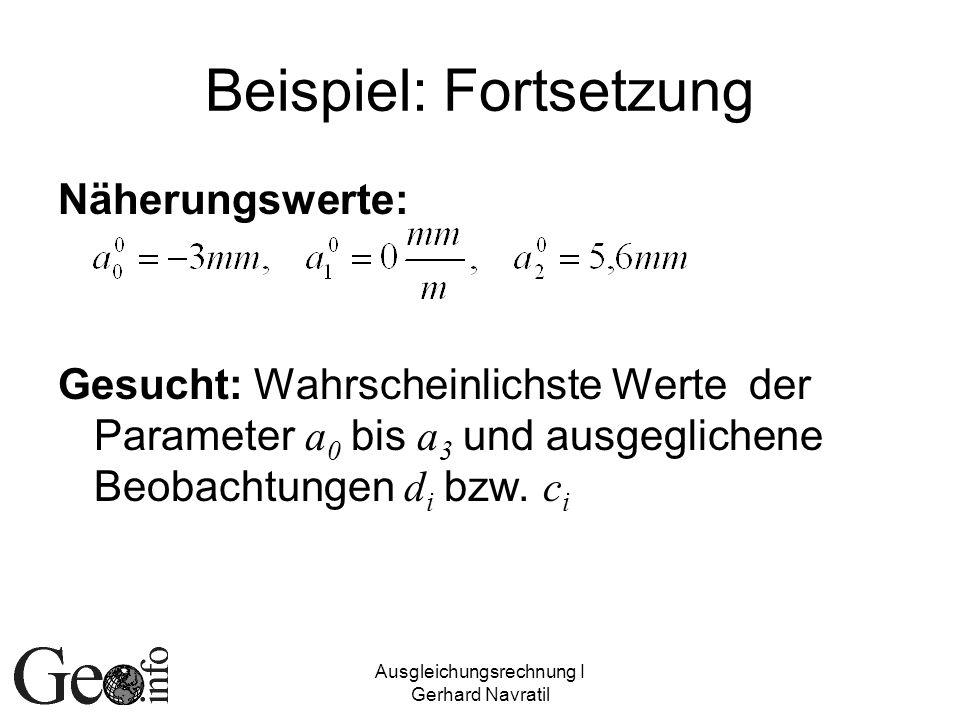 Ausgleichungsrechnung I Gerhard Navratil Beispiel: Fortsetzung Näherungswerte: Gesucht: Wahrscheinlichste Werte der Parameter a 0 bis a 3 und ausgegli