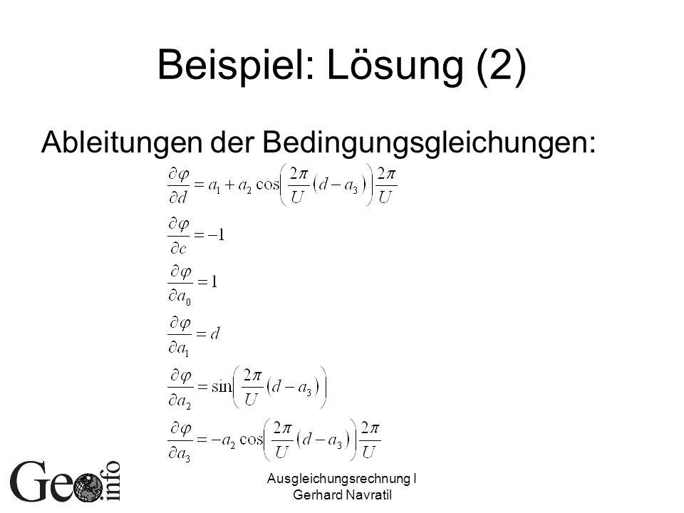 Ausgleichungsrechnung I Gerhard Navratil Beispiel: Lösung (2) Ableitungen der Bedingungsgleichungen: