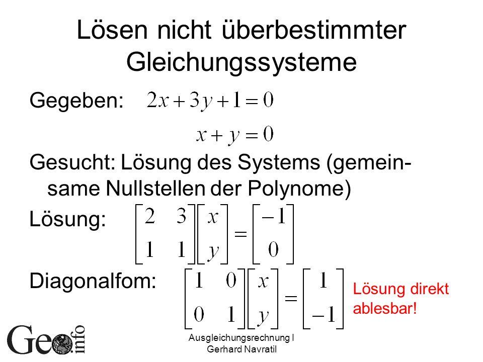 Ausgleichungsrechnung I Gerhard Navratil Lösen nicht überbestimmter Gleichungssysteme Gegeben: Gesucht: Lösung des Systems (gemein- same Nullstellen d