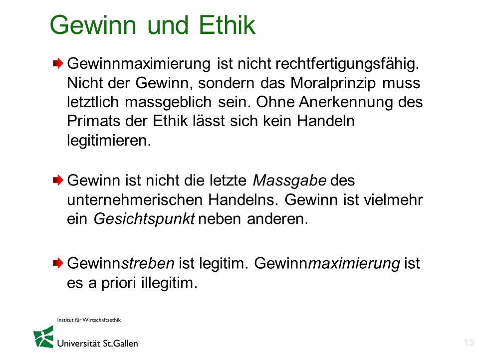 n 16 The Business Case for Ethics 3 Gegenargumente 1.Konventionalistisches Ethikverständnis – Vormoderne Katalogethik 2.Opportunismus 3.Ethik des Rechts des Stärkeren