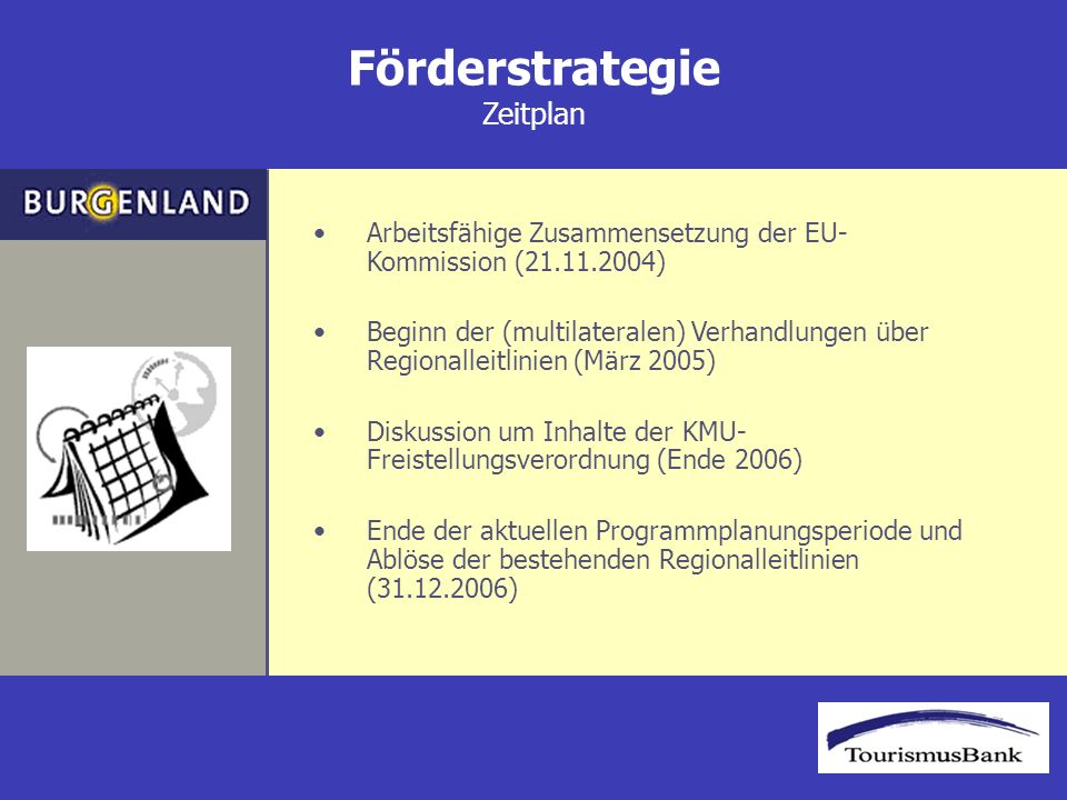 Förderstrategie Zeitplan Arbeitsfähige Zusammensetzung der EU- Kommission (21.11.2004) Beginn der (multilateralen) Verhandlungen über Regionalleitlinien (März 2005) Diskussion um Inhalte der KMU- Freistellungsverordnung (Ende 2006) Ende der aktuellen Programmplanungsperiode und Ablöse der bestehenden Regionalleitlinien (31.12.2006)