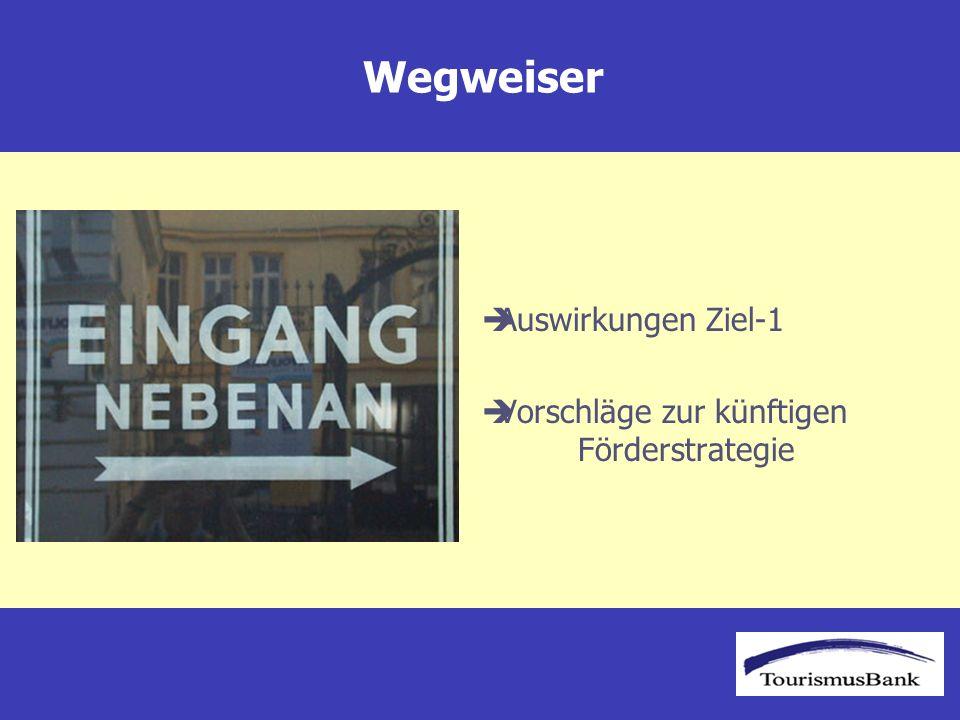 Touristische Entwicklung Nächtigungen mit und ohne Ziel-1-Status Burgenland Nächtigungen Burgenland 2003 –mit EU: 1,459 Millionen (Trend 2006: 1,689 Mio.) –ohne EU: 1,237 Millionen (Trend 2006: 1,273 Mio.) Quelle: Statistik Austria Berechnungen und Grafik ÖHT