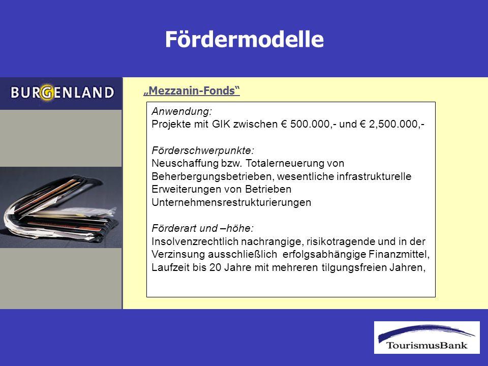 Fördermodelle Anwendung: Projekte mit GIK zwischen 500.000,- und 2,500.000,- Förderschwerpunkte: Neuschaffung bzw.
