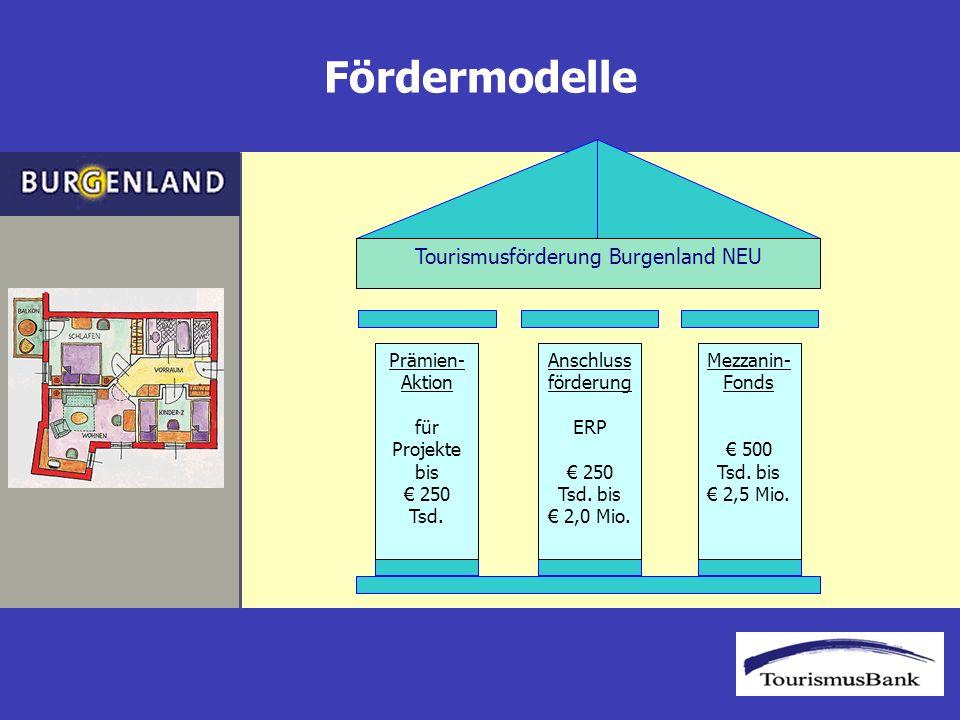 Fördermodelle Tourismusförderung Burgenland NEU Prämien- Aktion für Projekte bis 250 Tsd.