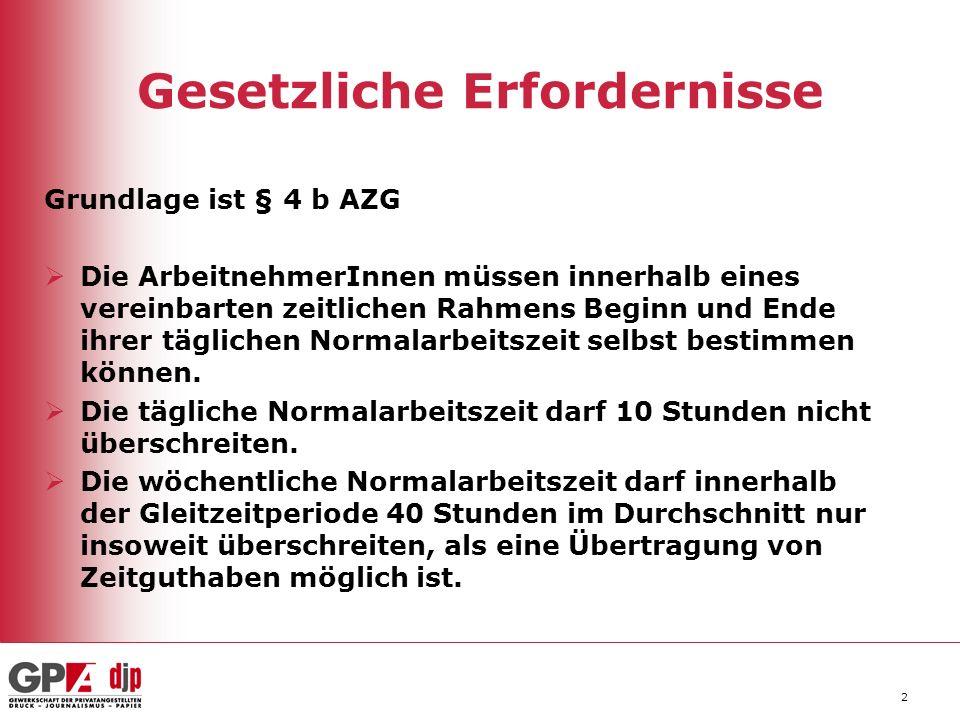 2 Gesetzliche Erfordernisse Grundlage ist § 4 b AZG Die ArbeitnehmerInnen müssen innerhalb eines vereinbarten zeitlichen Rahmens Beginn und Ende ihrer