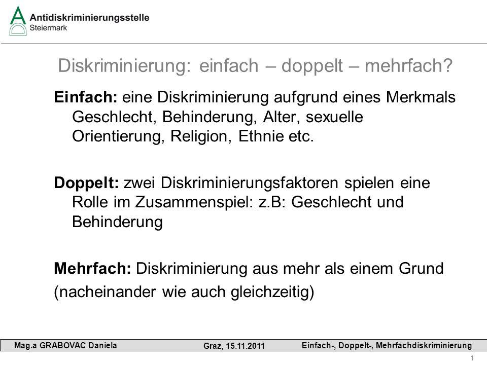 1 Mag.a GRABOVAC Daniela Graz, 15.11.2011 Einfach-, Doppelt-, Mehrfachdiskriminierung Diskriminierung: einfach – doppelt – mehrfach? Einfach: eine Dis