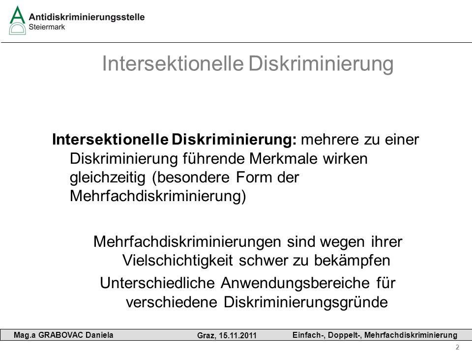 2 Mag.a GRABOVAC Daniela Graz, 15.11.2011 Einfach-, Doppelt-, Mehrfachdiskriminierung Intersektionelle Diskriminierung Intersektionelle Diskriminierun
