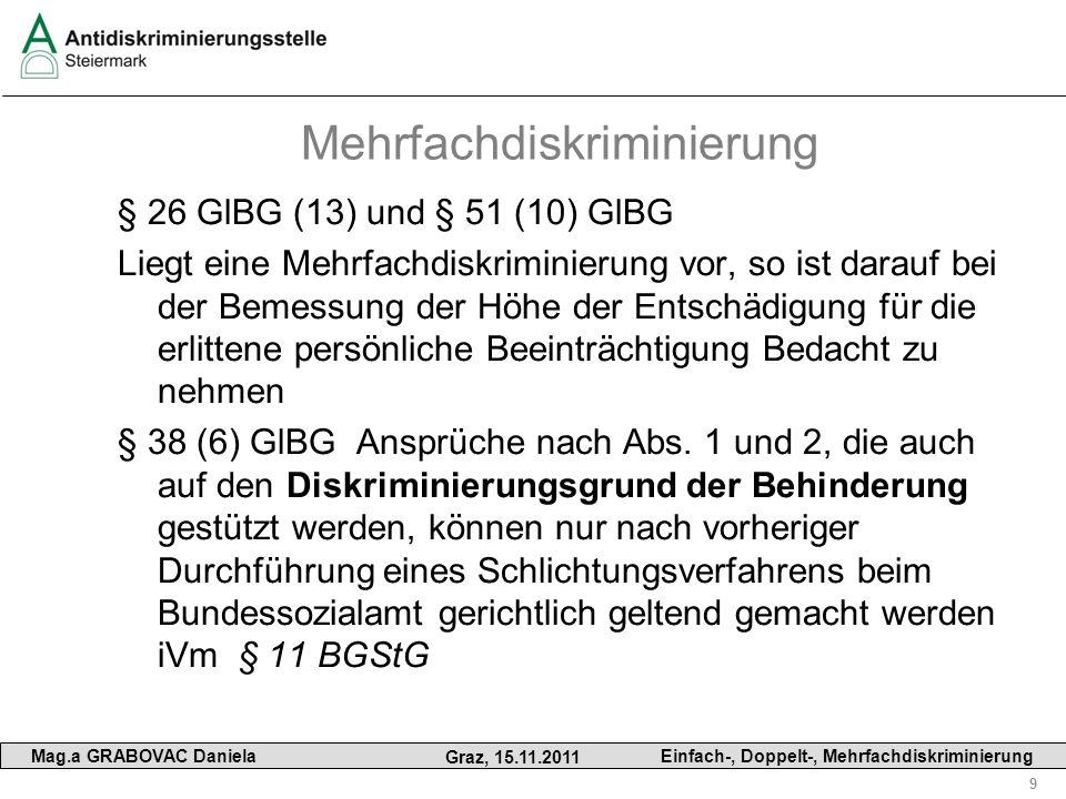9 Mag.a GRABOVAC Daniela Graz, 15.11.2011 Einfach-, Doppelt-, Mehrfachdiskriminierung Mehrfachdiskriminierung § 26 GlBG (13) und § 51 (10) GlBG Liegt