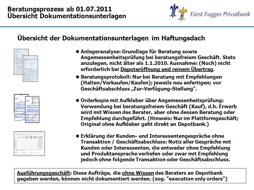 Beratungsprozess ab 01.07.2011 Übersicht Dokumentationsunterlagen Übersicht der Dokumentationsunterlagen im Haftungsdach lAnlegeranalyse: Grundlage fü