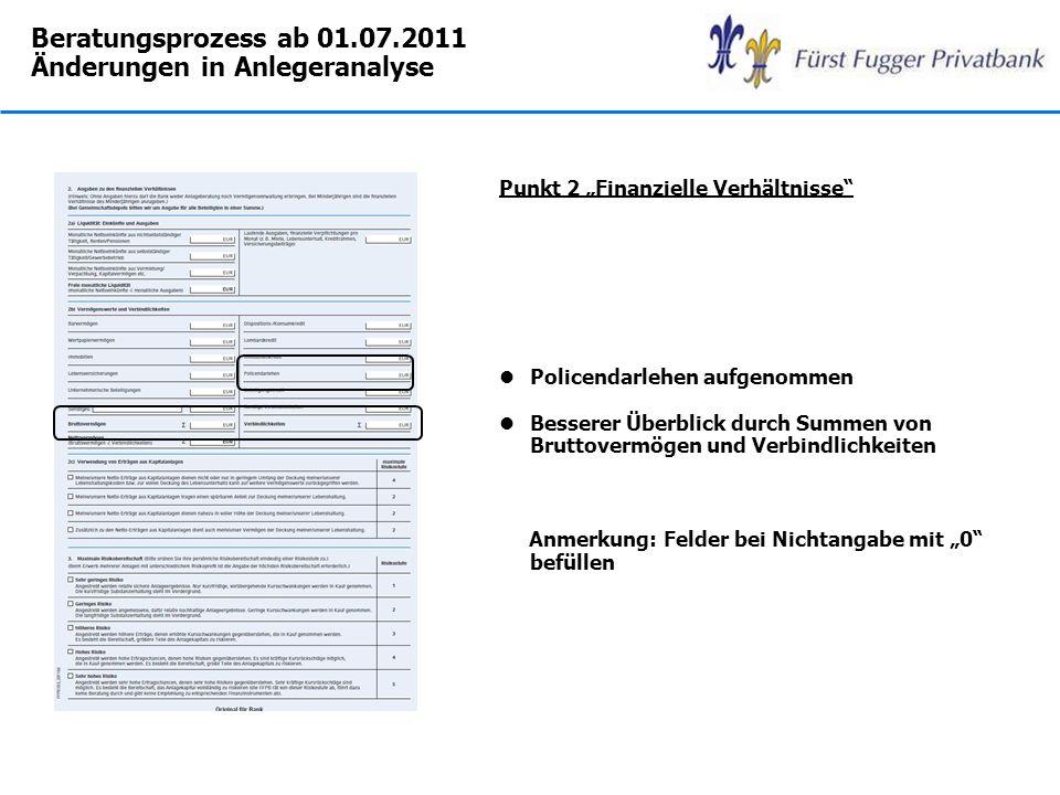 Beratungsprozess ab 01.07.2011 Änderungen in Anlegeranalyse Punkt 2 Finanzielle Verhältnisse lPolicendarlehen aufgenommen lBesserer Überblick durch Su