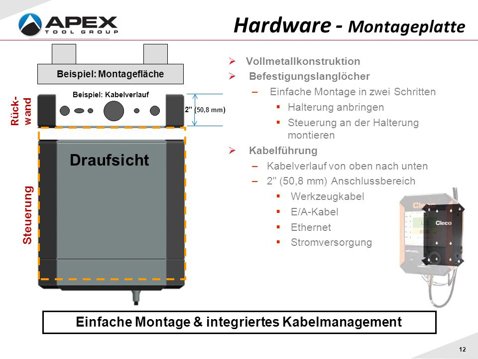 12 Hardware - Montageplatte Einfache Montage & integriertes Kabelmanagement 2 ( 50,8 mm ) Vollmetallkonstruktion Befestigungslanglöcher – Einfache Montage in zwei Schritten Halterung anbringen Steuerung an der Halterung montieren Kabelführung –Kabelverlauf von oben nach unten –2 (50,8 mm) Anschlussbereich Werkzeugkabel E/A-Kabel Ethernet Stromversorgung Draufsicht Beispiel: Montagefläche Steuerung Rück- wand Beispiel: Kabelverlauf