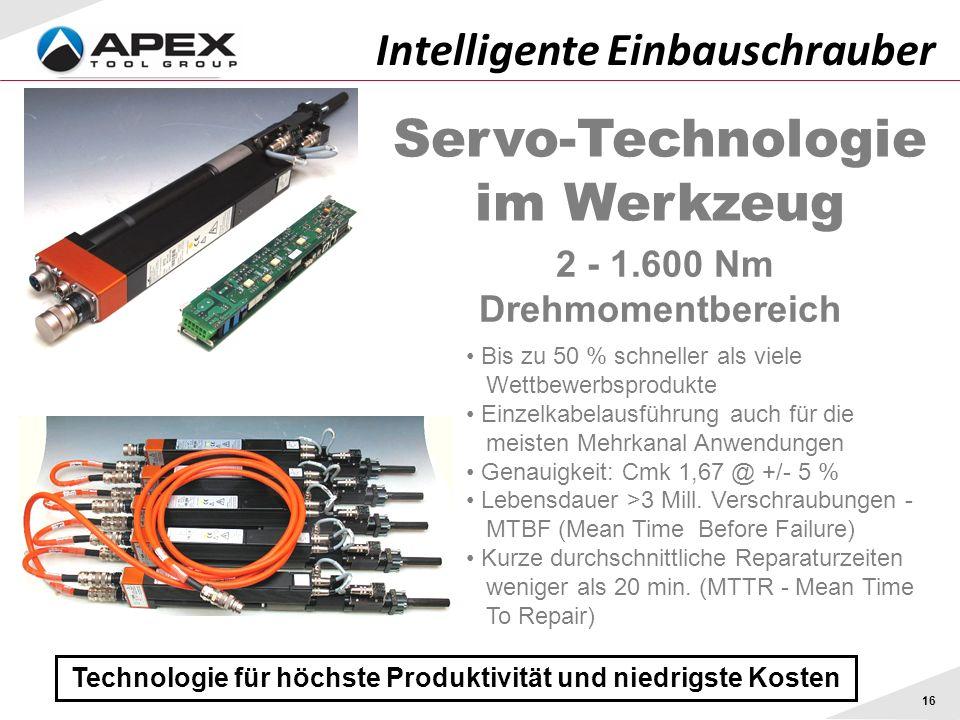 16 Technologie für höchste Produktivität und niedrigste Kosten Intelligente Einbauschrauber Servo-Technologie im Werkzeug 2 - 1.600 Nm Drehmomentberei