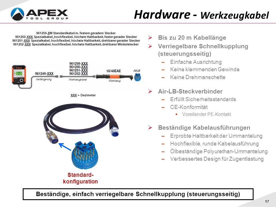 17 Beständige, einfach verriegelbare Schnellkupplung (steuerungsseitig) Hardware - Werkzeugkabel Bis zu 20 m Kabellänge Verriegelbare Schnellkupplung (steuerungsseitig) –Einfache Ausrichtung –Keine klemmenden Gewinde –Keine Drehmanschette Air-LB-Steckverbinder –Erfüllt Sicherheitsstandards –CE-Konformität Voreilender PE-Kontakt Beständige Kabelausführungen –Erprobte Haltbarkeit der Ummantelung –Hochflexible, runde Kabelausführung –Ölbeständige Polyurethan-Ummantelung –Verbessertes Design für Zugentlastung Standard- konfiguration 961259-XM Standardkabel m.