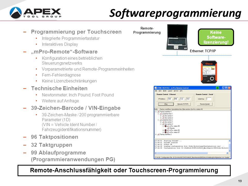 19 Softwareprogrammierung Remote-Anschlussfähigkeit oder Touchscreen-Programmierung –Programmierung per Touchscreen Integrierte Programmiertastatur In