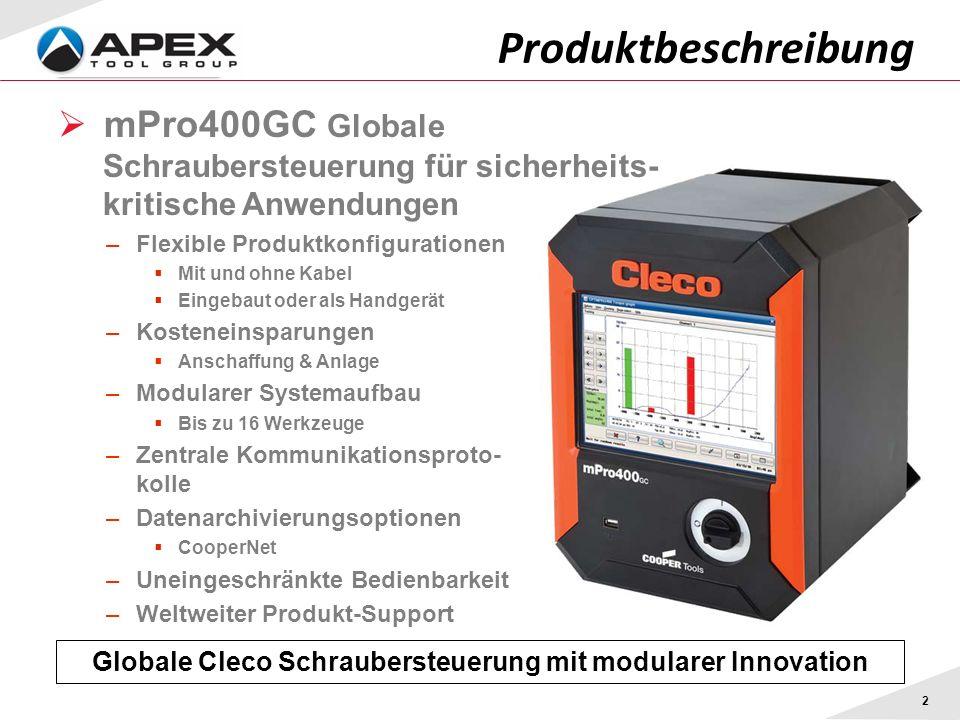 Produktbeschreibung 2 Globale Cleco Schraubersteuerung mit modularer Innovation mPro400GC Globale Schraubersteuerung für sicherheits- kritische Anwend