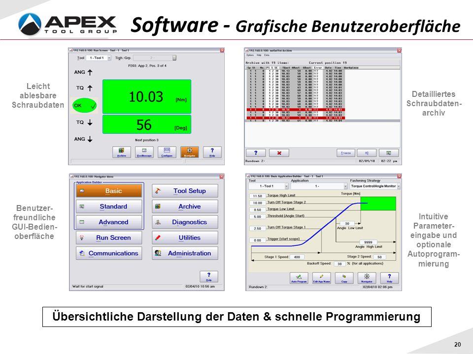 20 Software - Grafische Benutzeroberfläche Übersichtliche Darstellung der Daten & schnelle Programmierung Leicht ablesbare Schraubdaten Benutzer- freundliche GUI-Bedien- oberfläche Detailliertes Schraubdaten- archiv Intuitive Parameter- eingabe und optionale Autoprogram- mierung