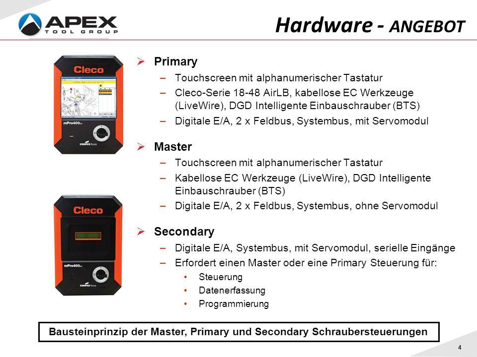 Primary –Touchscreen mit alphanumerischer Tastatur –Cleco-Serie 18-48 AirLB, kabellose EC Werkzeuge (LiveWire), DGD Intelligente Einbauschrauber (BTS)