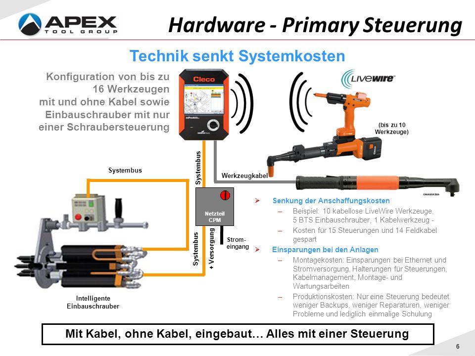 6 Hardware - Primary Steuerung Mit Kabel, ohne Kabel, eingebaut… Alles mit einer Steuerung Konfiguration von bis zu 16 Werkzeugen mit und ohne Kabel s