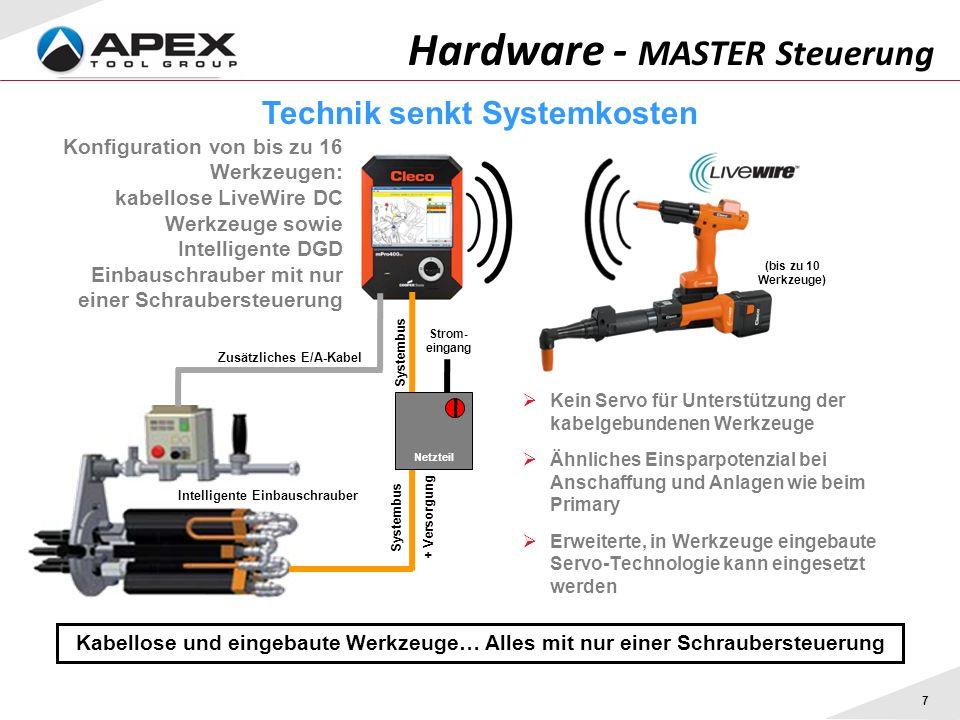 7 Hardware - MASTER Steuerung Kabellose und eingebaute Werkzeuge… Alles mit nur einer Schraubersteuerung Technik senkt Systemkosten Kein Servo für Unt