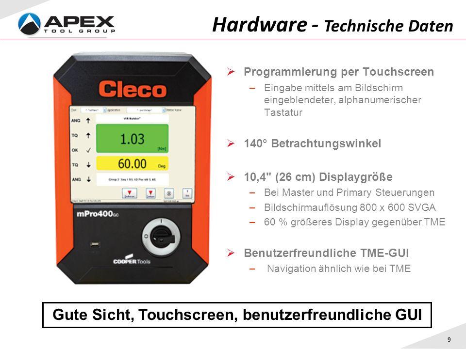 9 Hardware - Technische Daten Gute Sicht, Touchscreen, benutzerfreundliche GUI Programmierung per Touchscreen –Eingabe mittels am Bildschirm eingeblen