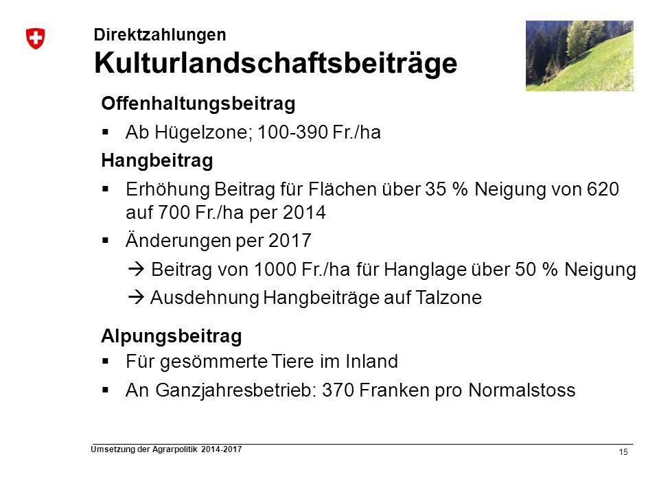 15 Umsetzung der Agrarpolitik 2014-2017 Direktzahlungen Kulturlandschaftsbeiträge Offenhaltungsbeitrag Ab Hügelzone; 100-390 Fr./ha Hangbeitrag Erhöhu