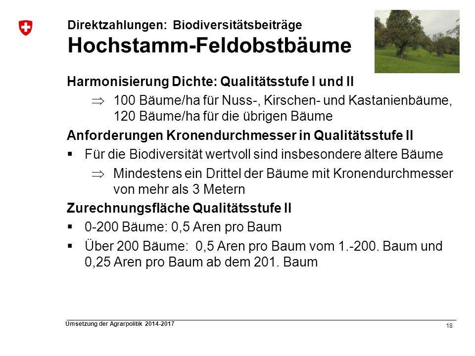 18 Umsetzung der Agrarpolitik 2014-2017 Harmonisierung Dichte: Qualitätsstufe I und II 100 Bäume/ha für Nuss-, Kirschen- und Kastanienbäume, 120 Bäume