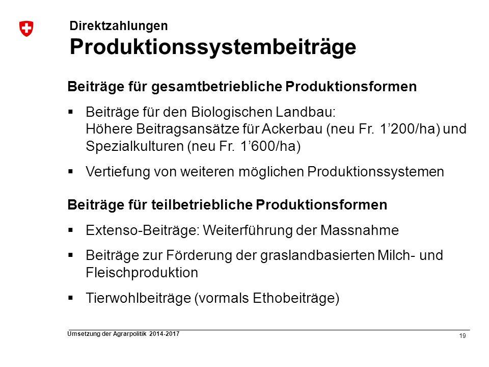 19 Umsetzung der Agrarpolitik 2014-2017 Direktzahlungen Produktionssystembeiträge Beiträge für gesamtbetriebliche Produktionsformen Beiträge für den B